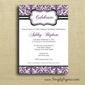 Aubergine Damask Invitation