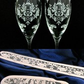 Damask Wedding cake server and champagne flutes
