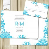 Modern Damask Wedding Invitation and RSVP. Printable. Personalize.