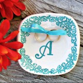 Damask Monogram Ring Bearer Bowl