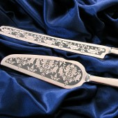 Damask Wedding Cake Server and Knife