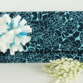 Danielle Clutch - Navy and Turquoise Mums with flower