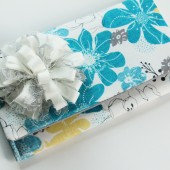 Blue Gray and Yellow Floral Clutch with Fabric Flower