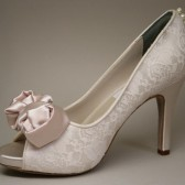 Dark Ivory Peep Toes with Lace Overlay, Blush Bow and Pearl Buttons on the Back