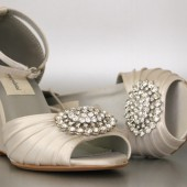 Ivory Peep Toe Wedge (Ella) with Oval Rhinestone Cluster one Toe