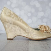 Dark Ivory Peep Toe Wedding Wedges with Lace Overlay, Pearl Buttons on the Back and Flower Accents on the Toe