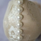Ivory Peep Toe Wedding Wedges with Lace Overlay, Pearl Buttons on the Back and Flowers on Toe