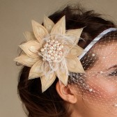 Dawn - Peacock Feather Fascinator with pearl and rhinestone accent