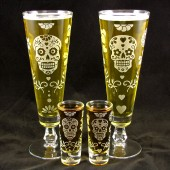 Day of the Dead Fluted Beer Glass, Shot Glass, calavera set