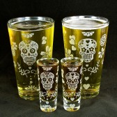Day of the Dead Pint Glass, shot glass set