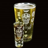 Sugar Skull Pint Glass Shot glass Set, Day of the Dead