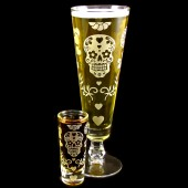 Day of the Dead Beer Glass Shot Glass set