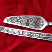 Day of the Dead Sugar Skull Wedding Cake server and knife set