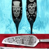 Day of the Dead Sugar Skull Champagne flutes, cake server set