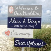 Navy Welcome wedding sign