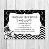 Black and White Floral Chevron Bridal Shower Invitation