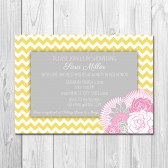 Pink and Yellow Floral Chevron Bridal Shower Invitation