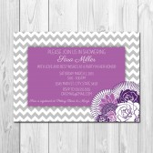 Purple Floral Chevron Bridal Shower Invitation