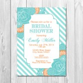Bridal Shower Invitation - Stripes and Blooms - Aqua and Orange