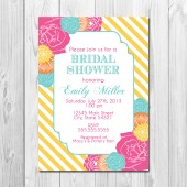 Bridal Shower Invitation - Stripes and Blooms - Multi Color