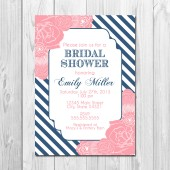Bridal Shower Invite - Stripes and Blooms - Navy and Pink