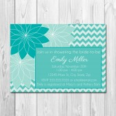 Shades of Tiffany Blue Floral Bridal Shower Invitation