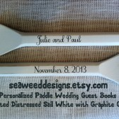 "Personalized Unfinished 41"" Paddles Nautical Wedding Guest Book Pair(2) Bride and Groom Names and Wedding Date Nautical Nursery Oars Shown in Distressed Sail White (off-white) with Graphite Grey Lettering"