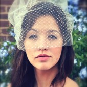 Double Birdcage Veil French Russian Net and Bridal Illusion Tulle Veils with Swarovski crystals
