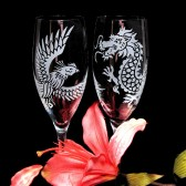Chinese Wedding Dragon and Phoenix Champagne flutes