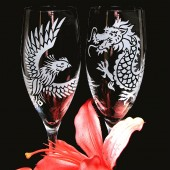 Dragon and Phoenix champagne flutes, Asian Wedding