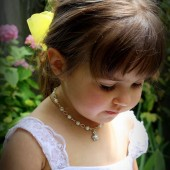 Annabelle flower girl pearl necklace with flower charm