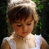 Annabelle flower girl necklace with heart charm