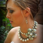 Annie Pearl Statement Necklace with Metal Flower Brooch
