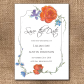 fall flowers, fall save the date, rustic, orange, blue, orange and blue, orange flowers, orange and blue flowers, orange and blue wedding, rustic save the date