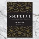 art deco, art deco wedding invitations, gatsby, gatsby wedding invitations, boho gatsby, black, gold, black and gold, gold save the date