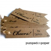kraft personalized gift tags - pennant flag - set of 20 - wedding favor tags - thank you tags