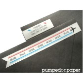 airmail skinny banner wraparound address labels - personalized - set of 28