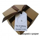 wedding favor tags - monogram with rhinestone - set of 20