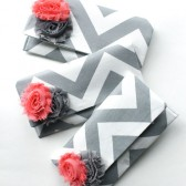 Chevron Clutch in Gray and Coral Pink