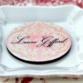 Damask Wood Circle Place Card