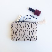 Black and Linen XO Clutch
