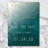 jewel tone, jewel tone save the date, aquamarine, teal, blue, green, watercolor, watercolor save the date, geometric, geometric save the date