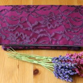 Amelia Clutch Eggplant Lace and Berry Satin