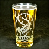 Elk Personalized Pint Glass, Etched Glass Beer Glass for Groomsmen