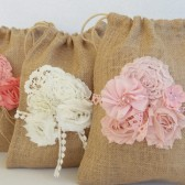 Burlap and lace wedding bag