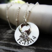 Hand Stamped Engagement Necklace