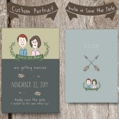 Custom Couples Portrait. Invite or Save the Date