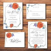 fall flowers, fall wedding invitations, rustic, orange, blue, orange and blue, orange flowers, orange and blue flowers, orange and blue wedding, rustic wedding invitations