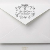 Hand Drawn Flourish Frame Wedding Address Stamp – FL003