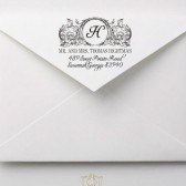 Monogram Baroque Flourish Wedding Address Stamp – FL004